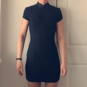 "Black ""Mandarin"" fitted formal mini dress"